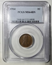 1914 LINCOLN PENNY CENT COIN PCGS MS64BN LOT# E 254