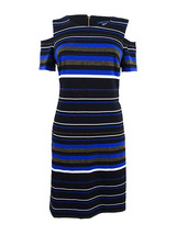 Tommy Hilfiger Womens Cold-Shoulder Striped Dress, Black/Gold 4, 2704-3 - $64.34