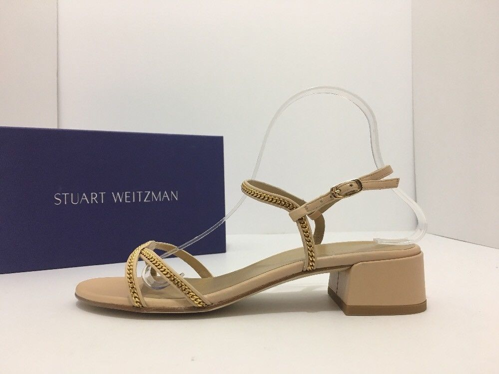 Stuart Weitzman Overriding Nude Naked Leather Women's Heels Sandals Size 9 M