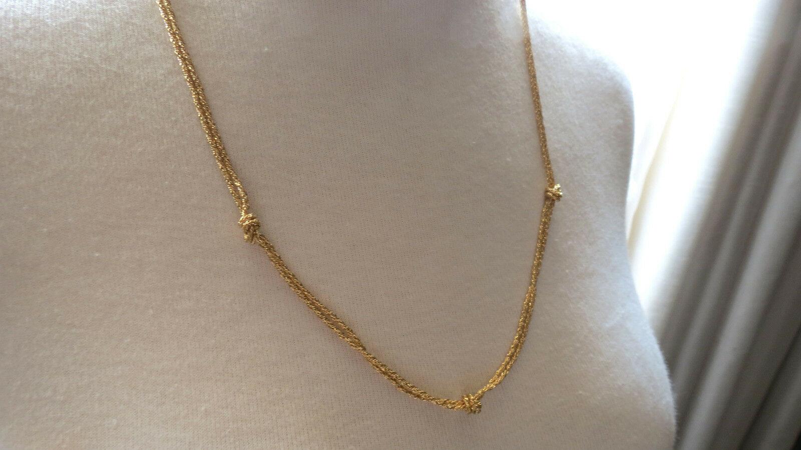 VTG Monet Designer Gold Plated Chain Necklace Knots Foil Weave Lobster Catch Wow