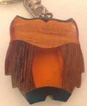Owl Keychain Inlaid Wood Resin Figural Bird Brown Green Amber Key Ring image 4