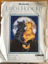 WonderArt Caron Latch Hook Kit Moonlight Meow 15x20 Kitty Cat Cats #4104   - $23.75