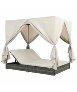 vidaXL Sunlounger with Curtains Poly Rattan Gray Outdoor Lounge Bed Sunbeds - $681.99