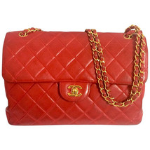 Vintage CHANEL lipstick red lambskin large 2.55 shoulder bag with double flaps. - $3,120.00