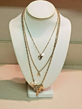 Guess Designer Long Three Strand Charm Goldtone Necklace (NEW) - $29.65