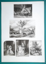 1847 Print Multiple Views - Forest Scene by Linnell, Milking Time, Dicke... - $12.60