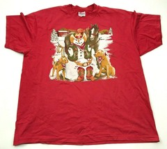 VINTAGE Snowman Shirt Size Extra Large XL Red Short Sleeve Graphic Tee A... - $17.83