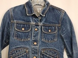GAP Kids Denim Jean Jacket Coat Long Sleeve Blue Pockets Large Factory Store image 2