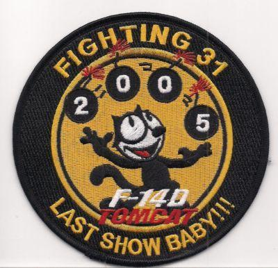 Primary image for US Navy VFA-31 or Strike Fighter Squadron 31 Tomcat F14D Last Show Baby Patch