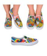New Women JORDANA Multi color Peace Love Emoji Flat Slip On Sneakers Shoes - $24.98