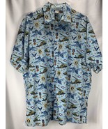High Seas Trading Co Air Force Button Down Shirt Patriotic Jets Copters ... - $17.32