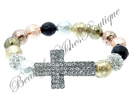 Beauty for Ashes Pave Crystal Cross Hammered Metal Bead Copper Stretch B... - $29.95