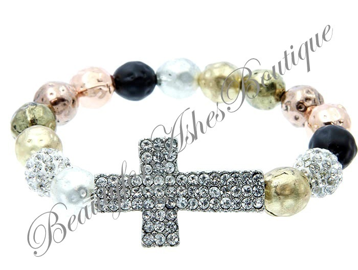 Beauty for Ashes Pave Crystal Cross Hammered Metal Bead Copper Stretch Bracelet