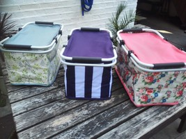 FOLDABLE INSULATED PICNIC BASKET HAMPER COOLER BAG FOOD CARRIER STORAGE ... - $23.35