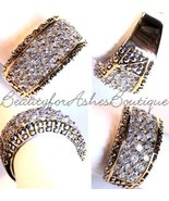 BEAUTY FOR ASHES PAVE GLITZY DOT CLEAR MINI CZ BAND RING TWO TONE GOLD PLATING  - $32.00
