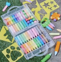 Ultimate Sidewalk Chalk Play Set 80 Pieces W/ Tools~ Stencils ~carrying ... - $29.99