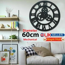 60cm Large Wall Clock Traditional Roman Numerals Skeleton Metal Garden R... - $29.09