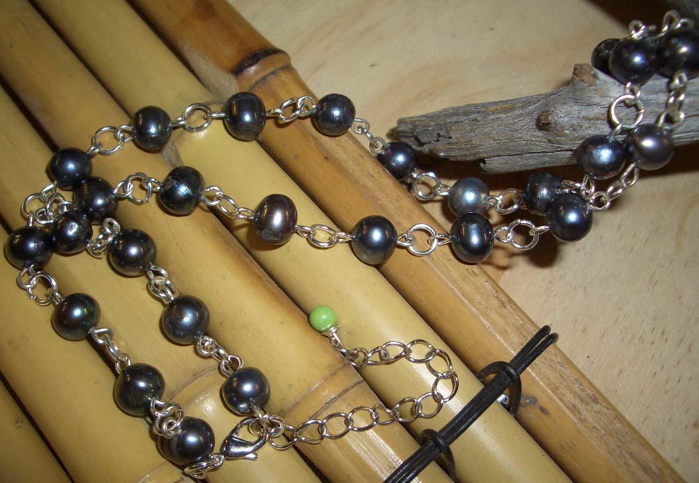 Pearl y516unique blackgem necklace