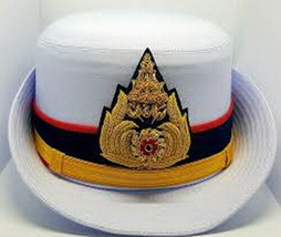 Royal Thai Army Officer Cap White Colonel Uniform Captain Women Soldier Military - $60.43