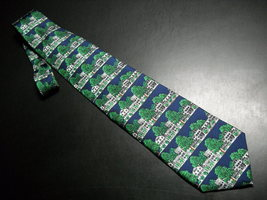 Alynn Neckwear Silk Neck Tie Dark Blue with The Equinox Amoungst Green F... - $10.99