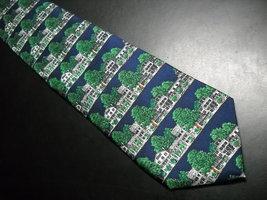 Alynn Neckwear Silk Neck Tie Dark Blue with The Equinox Amoungst Green Foliage image 2