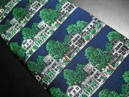 Alynn Neckwear Silk Neck Tie Dark Blue with The Equinox Amoungst Green Foliage image 3