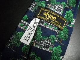 Alynn Neckwear Silk Neck Tie Dark Blue with The Equinox Amoungst Green Foliage image 4
