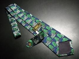 Alynn Neckwear Silk Neck Tie Dark Blue with The Equinox Amoungst Green Foliage image 5