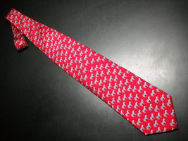Alynn Neckwear Neck Tie Silk Tiny Repeating Ponys in Blue Blanket on Bright Red image 1