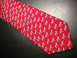 Alynn Neckwear Neck Tie Silk Tiny Repeating Ponys in Blue Blanket on Bright Red image 2