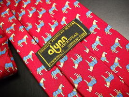 Alynn Neckwear Neck Tie Silk Tiny Repeating Ponys in Blue Blanket on Bright Red image 4