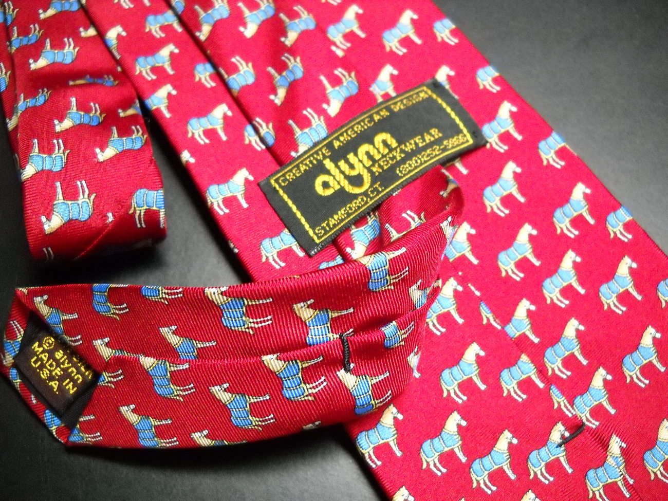 Alynn Neckwear Neck Tie Silk Tiny Repeating Ponys in Blue Blanket on Bright Red image 6