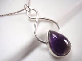 Amethyst Necklace 925 Sterling Silver Infinity Hoop Signifies Endless Love 627cc - $22.72