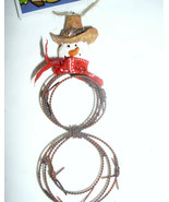 Southwestern Barbed Wire SNOWMAN Christmas Ornament - $6.98