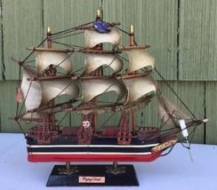 "Wooden Big Sailing Ship Model Nautical Flying Cloud 14.5"" US Flag Waving - $98.00"
