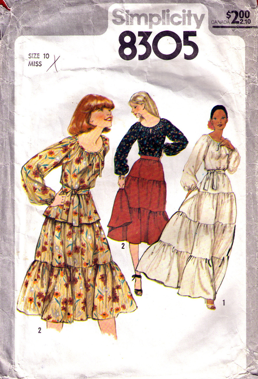 1977 BLOUSE & TIERED SKIRT Pattern 8305-s Size 10 - Complete