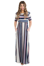 Muted Multicolor Striped Half Sleeve Casual Maxi Dress  - $30.40