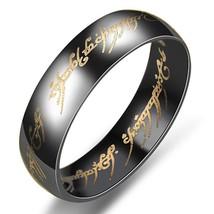 6mm Lord of the Rings Black Ring Titanium Stainless Steel Men's Ring Siz... - $247,92 MXN