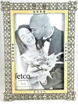 STAIN Silver Rhinestone Photo Picture Frame 4x6 FETCO Home Decor Floral ... - $7.42