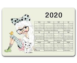 "COUNTER MAT/PLACEMAT EX-LARGE - 12"" X 18"" - CUTE GIRL WITH 2020 CALENDAR - $17.25"