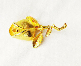Gold tone rose & leaves pin DuBarry 5th Avenue DFA mark vintage brooch - $5.89