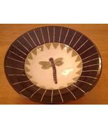 "Dragonfly Pottery Bowl Brown Green Artisan Made Handmade 3D Serving 9"" P1 - $19.34"