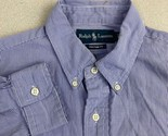 Ralph Lauren Button Up Shirt Mens L Purple White Long Sleeve Custom Fit Check