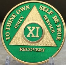 11 Year AA Medallion Green Gold Plated Alcoholics Anonymous Sobriety Chi... - $20.39