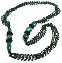 """NECKLACE BLACK, GREEN SPOTTED DROP OVAL MURANO GLASS, MULTI WIRES, 90cm 35"""" LONG image 1"""