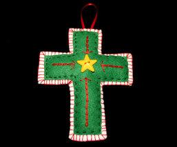 Handcrafted Felt Christmas Cross Ornament - $7.98