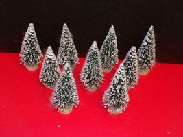 "NINE (9) - FLOCKED PINE TREES-WITH WOOD BASES-EACH 5"" TALL - $7.43"