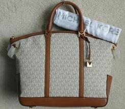 Michael Kors Beckett Satchel Handbag Crossbody Vanilla Brown Logo Signat... - $184.99
