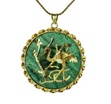 Vintage Chinese GF Gold Filled Crane Bird Jadeite Jade Opal Medallion Ne... - €333,78 EUR