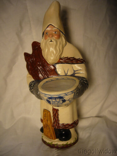 Vaillancourt Folk Art Santa with Delft Punchbowl & Ginger Cake Signed